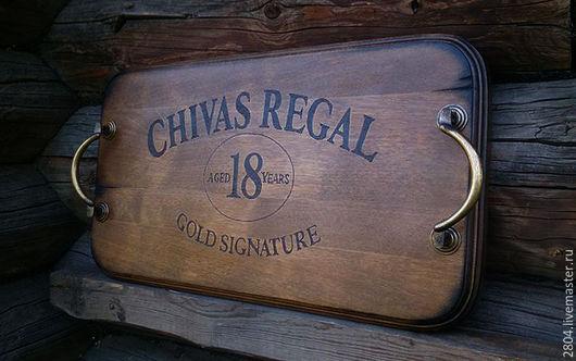 Кухня ручной работы. Ярмарка Мастеров - ручная работа. Купить Поднос деревянный Подарок мужчине Виски Chivas Regal. Handmade.