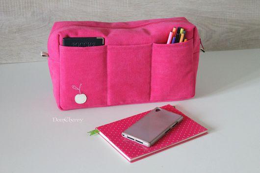 Органайзеры для сумок ручной работы. Ярмарка Мастеров - ручная работа. Купить Органайзер вкладыш в сумку. Розовая. Handmade. Фуксия