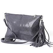 Сумки и аксессуары handmade. Livemaster - original item Crossbody Bag Suede Grey Small Clutch with Tassel Suede. Handmade.