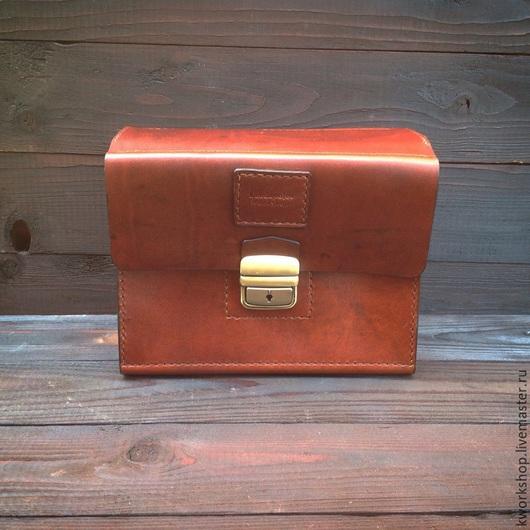 Органайзеры для сумок ручной работы. Ярмарка Мастеров - ручная работа. Купить Несессер из натуральной кожи. Handmade. Коричневый, бронза