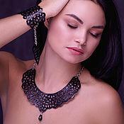 Украшения handmade. Livemaster - original item Leather necklace and leather bracelet Black lace. Handmade.