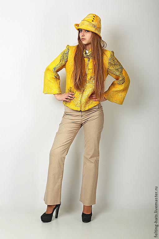 Пиджаки, жакеты ручной работы. Ярмарка Мастеров - ручная работа. Купить Эксклюзивная  валяная куртка-пиджак Эльдорадо. Handmade. Желтый
