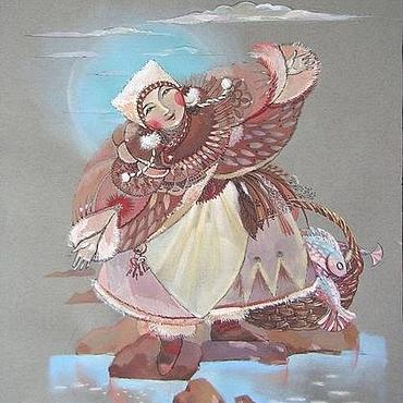 """Картины и панно ручной работы. Ярмарка Мастеров - ручная работа картина""""Северные сказки. Встречающая."""". Handmade."""