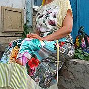 Платья ручной работы. Ярмарка Мастеров - ручная работа Летнее желтое полосатое платье. Handmade.