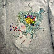 Одежда ручной работы. Ярмарка Мастеров - ручная работа Свитшот с росписью Нимфа. Handmade.