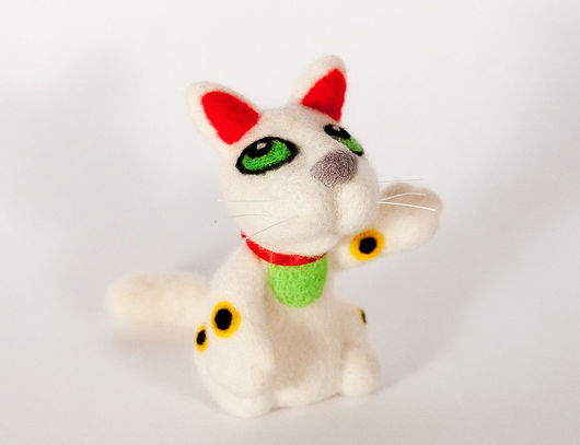 Игрушки животные, ручной работы. Ярмарка Мастеров - ручная работа. Купить Манэки Нэко. Handmade. Шерсть, кот, символ, белый