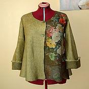 """Одежда ручной работы. Ярмарка Мастеров - ручная работа Валяный пиджак """" Букет -3"""" оливковый зелёный кардиган. Handmade."""