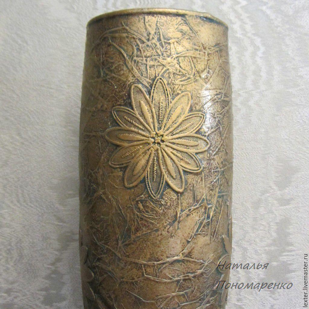 Вазы ручной работы. Стеклянная ваза Золотые фантазии