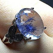 """Кольцо с натуральным дюмортьеритом! """"Синяя нежность"""""""