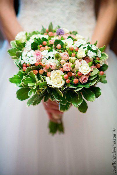 Свадебные цветы ручной работы. Ярмарка Мастеров - ручная работа. Купить Букет невесты. Handmade. Кремовый, бежевый цвет, розовый