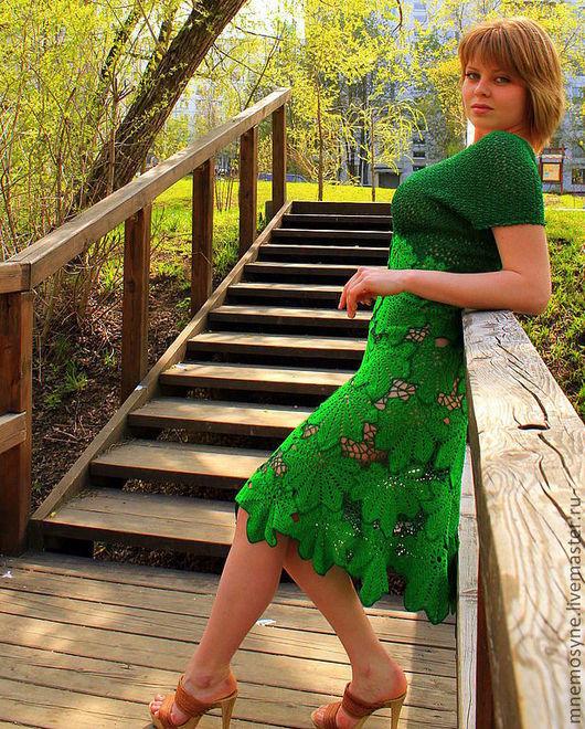 Платья ручной работы. Ярмарка Мастеров - ручная работа. Купить Зеленая фантазия. Handmade. Зеленый, платье летнее, листья