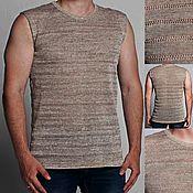 Одежда handmade. Livemaster - original item 100% linen t-shirt men`s