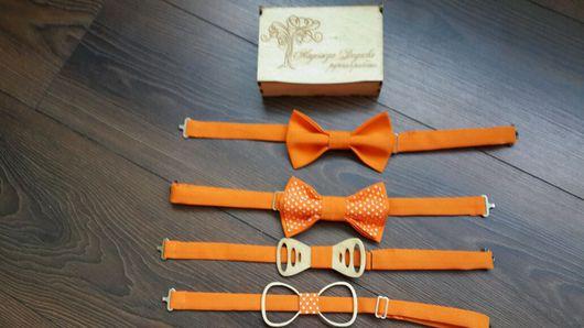 Галстуки, бабочки ручной работы. Ярмарка Мастеров - ручная работа. Купить Галстук-бабочка яркий оранжевый. Handmade. Галстук-бабочка