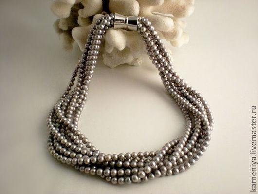 Колье, бусы ручной работы. Ярмарка Мастеров - ручная работа. Купить Пышное ожерелье из серого жемчуга. Handmade. Ожерелье