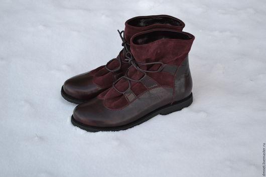 Обувь ручной работы. Ярмарка Мастеров - ручная работа. Купить Ботиночки SONYA II бордо комбинированные. Handmade. Бордовый