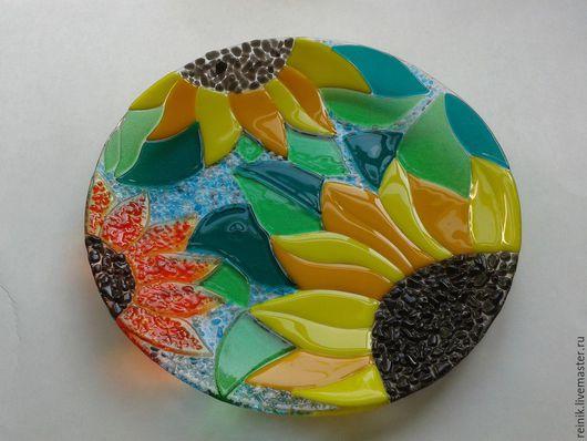 Тарелочка из стекла `Подсолнухи`-1.