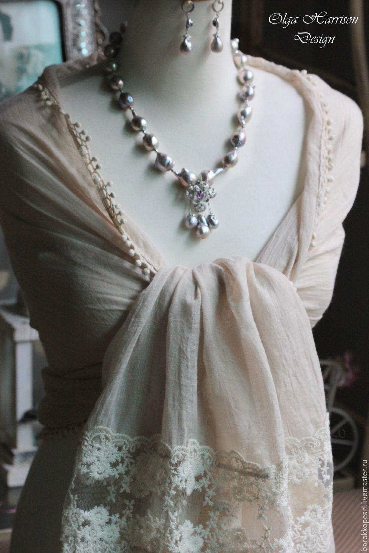Благородный серый -II.Бусы, кулон, серьги.Серебрянный комплект, Колье, Майами,  Фото №1