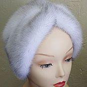 Аксессуары handmade. Livemaster - original item Hat-turban, mink blue cross. Handmade.