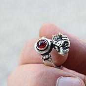 Украшения handmade. Livemaster - original item Men`s-women`s Snake ring with corundum in 925 silver (VIDEO) HB0012. Handmade.