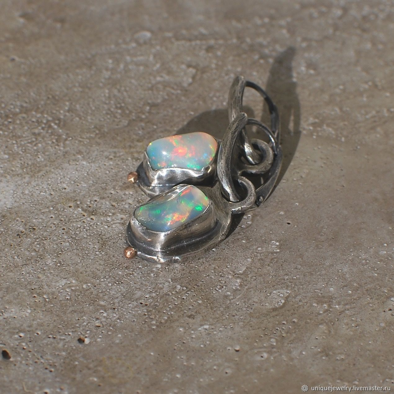 Earrings with opals, silver and gold, Earrings, Moscow,  Фото №1