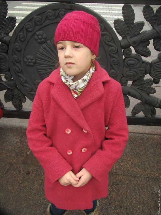 Одежда для девочек, ручной работы. Ярмарка Мастеров - ручная работа. Купить Пальто двубортное демисезонное. Handmade. Ярко-красный, вискоза