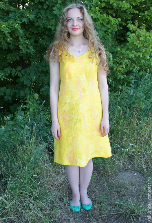 Платья ручной работы. Ярмарка Мастеров - ручная работа. Купить Платье валяное Солнечное. Handmade. Платье, легкое платье, желтый
