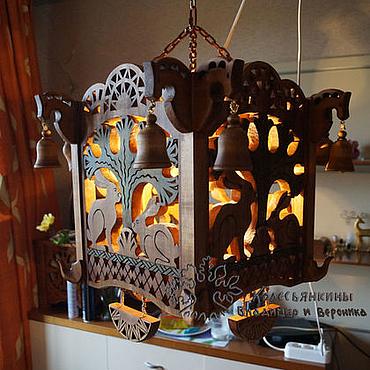 Для дома и интерьера ручной работы. Ярмарка Мастеров - ручная работа Светильник-люстра из дерева Зайцы. Handmade.