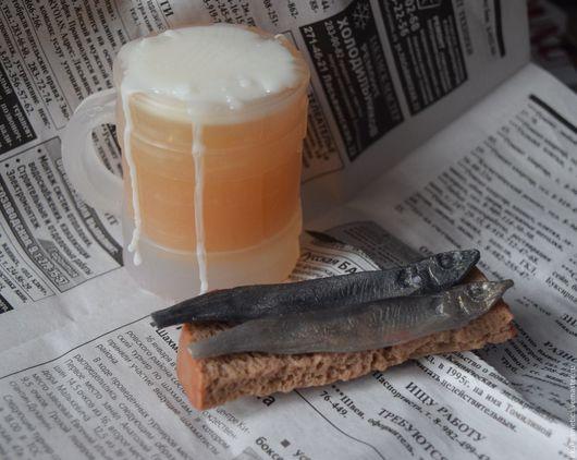 Подарки для мужчин, ручной работы. Ярмарка Мастеров - ручная работа. Купить Пиво и Мойва.Набор мыльный. Handmade. Серебряный