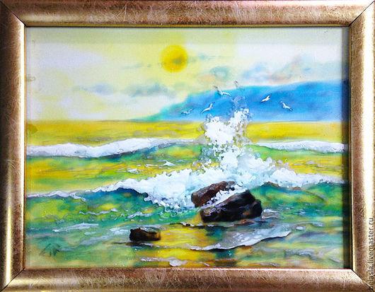 Пейзаж ручной работы. Ярмарка Мастеров - ручная работа. Купить Море, витражная живопись по стеклу.. Handmade. Желтый, лазурь, солнце