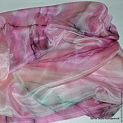 """Аксессуары ручной работы. Ярмарка Мастеров - ручная работа Палантин шелковый """"Розовый"""" батик купить. Handmade."""