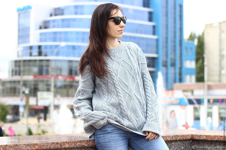 Grey cashmere braided sweater, Sweaters, Rtishchevo,  Фото №1