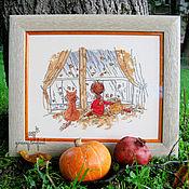 """Картины и панно ручной работы. Ярмарка Мастеров - ручная работа Картина вышивка крестом """"Я, мой кот и Осень"""". Handmade."""