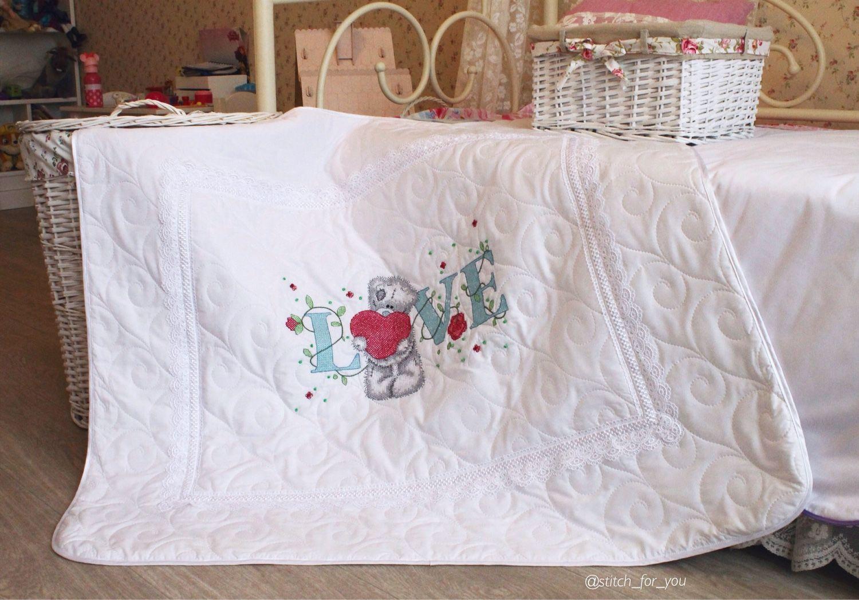 Вышивка лентами для детского одеяла