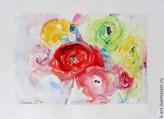 Картины цветов ручной работы. Ярмарка Мастеров - ручная работа. Купить Ранункулюсы в неге. Handmade. Ярко-красный, букет лютиков