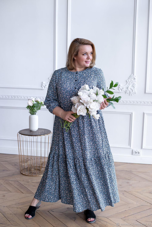Бохо платье макси ярусами голубой цветочек – купить на Ярмарке Мастеров – O8RV8RU | Платья, Новосибирск