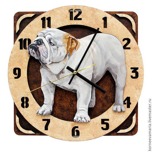 Часы для дома ручной работы. Ярмарка Мастеров - ручная работа. Купить Часы «Английский бульдог». Handmade. Коричневый, английский бульдог