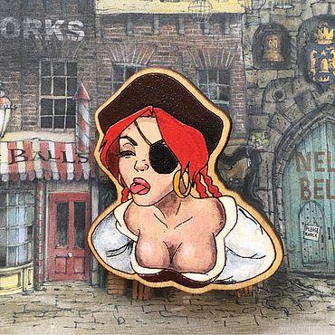 Субкультуры ручной работы. Ярмарка Мастеров - ручная работа Деревянный значок «пиратка». Handmade.
