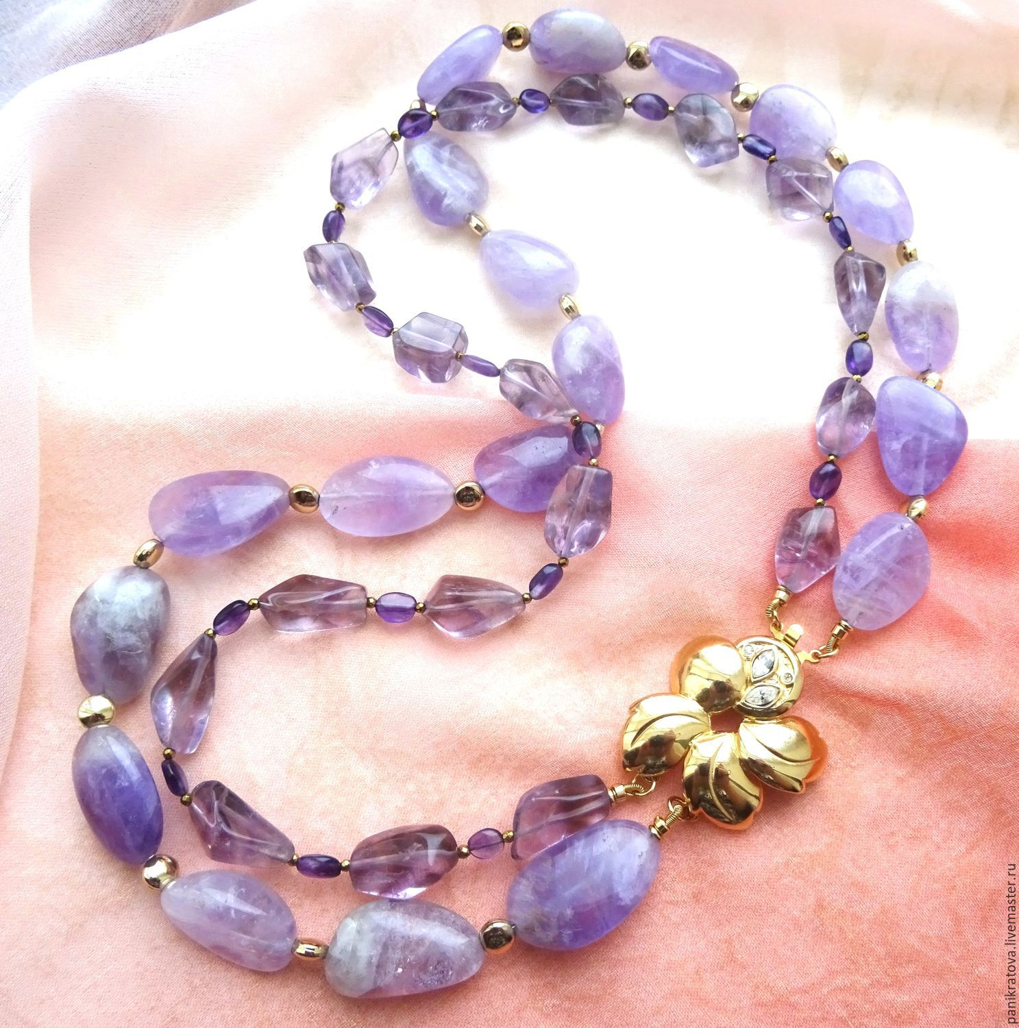 Necklace 'Flower of Provence' (amethyst, hematite), Necklace, Moscow,  Фото №1
