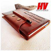 Канцелярские товары handmade. Livemaster - original item Cover for the diary made of genuine leather