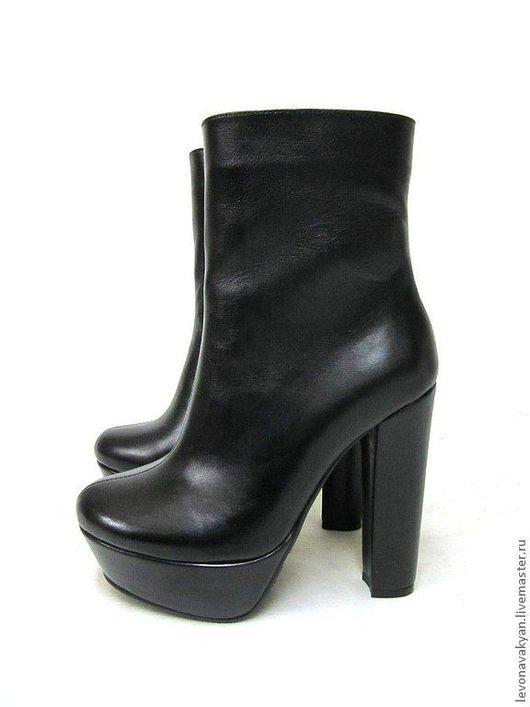 Обувь ручной работы. Ярмарка Мастеров - ручная работа. Купить Ботинки женские. Handmade. Черный, сапоги