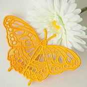 Брошь-булавка ручной работы. Ярмарка Мастеров - ручная работа Брошь Бабочка Желтая. Handmade.