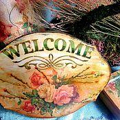 Для дома и интерьера ручной работы. Ярмарка Мастеров - ручная работа Винтажная табличка для дома. Handmade.
