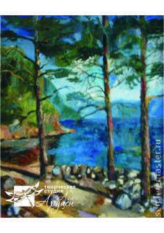 Пейзаж ручной работы. Ярмарка Мастеров - ручная работа. Купить Картина Сосны. Handmade. Тёмно-синий, масло, картина, оргалит