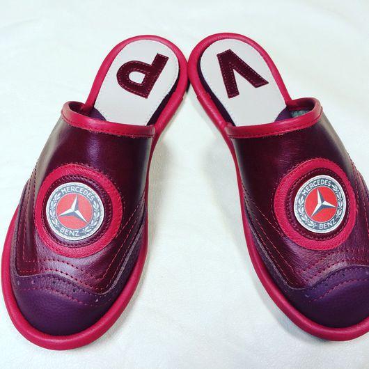 """Обувь ручной работы. Ярмарка Мастеров - ручная работа. Купить Кожаные тапочки """"Мерседес"""". Handmade. Тапочки, мужские тапочки, мерседес"""