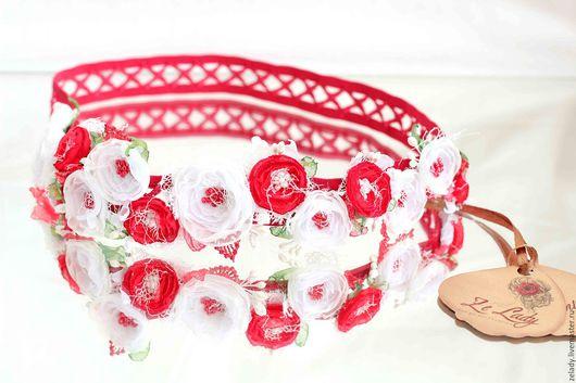 """Цветы ручной работы. Ярмарка Мастеров - ручная работа. Купить Повязка  """"Красно-белая"""". Handmade. Нежное украшение, цветочная повязка"""