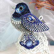 Украшения ручной работы. Ярмарка Мастеров - ручная работа Брошь синяя птица вышитая бисером. Handmade.