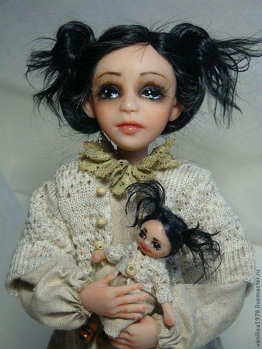 Коллекционные куклы ручной работы. Ярмарка Мастеров - ручная работа. Купить Агата. Я и моя тень.. Handmade. Бежевый, лён