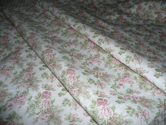 """Шитье ручной работы. Ярмарка Мастеров - ручная работа. Купить Льняная ткань """"Розы Прованса"""". Handmade. Кремовый, ткань для постельного"""