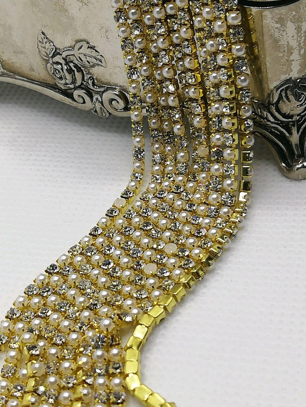Diamante de la cinta de la perla, en oro 2mm, Chains, St. Petersburg,  Фото №1