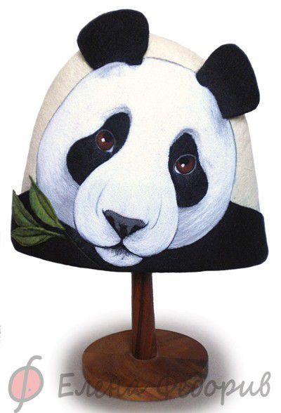 """Банные принадлежности ручной работы. Ярмарка Мастеров - ручная работа. Купить Шапка для бани """"Большая панда"""". Handmade. Шапка для бани"""